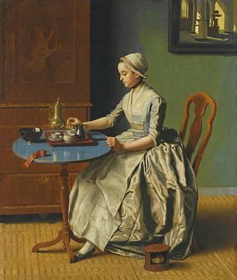 A Dutch Girl At Breakfast Poster by Etienne