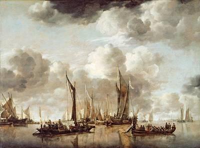 A Dutch Yacht Firing A Salute As A Barge Pulls Away Poster by Jan van de Capelle