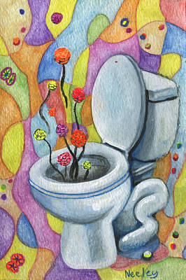 A Flower For Not Flushing The Toilet Poster by Kd Neeley