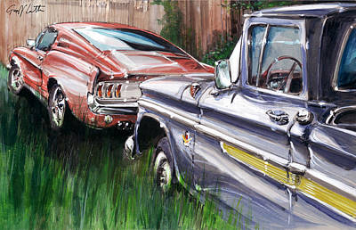 A Ford Mustang And A Gmc Pick-up In A Canadian Garden Poster by Geoff Latter