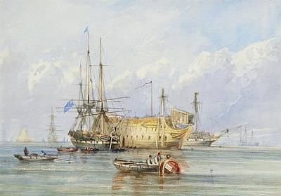 A Frigate Lying Alongside A Prison Hulk With Other Shipping Poster by William Callcott