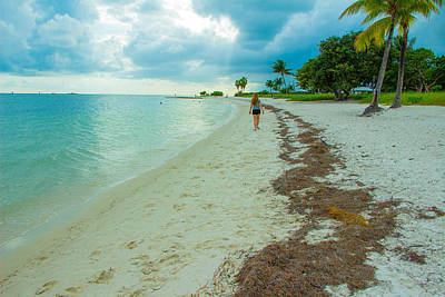 A Girl Is Walking At The Sombrero Beach In Marathon Florida Keys Poster by Brenda Mardinly