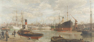 A Glimpse In 1920 Of The Royal Edward Dock, Avonmouth Poster by Arthur Wilde Parsons
