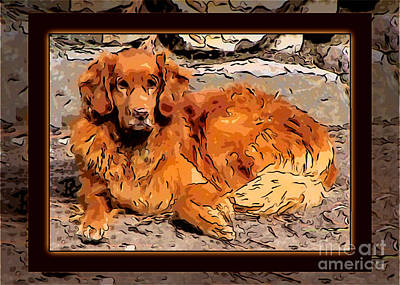 A Golden Retriever Resting Abstract Dog Art Poster by Omaste Witkowski