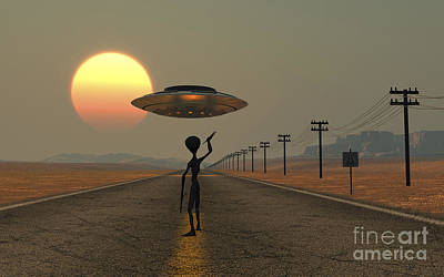 A Grey Alien Hitching A Ride Poster by Mark Stevenson