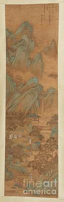 A Hanging Scroll Of Figures In A Landscape Poster by MotionAge Designs