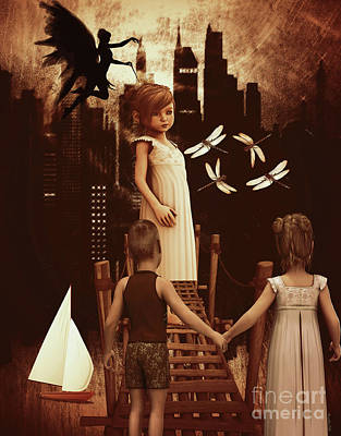 A Little Girl's Dream Poster by Kathy Franklin
