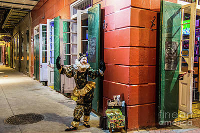 A Dancing Mime On Bourbon Street Poster by Tod and Cynthia Grubbs