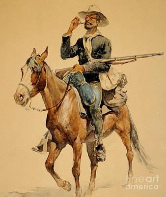 A Mounted Infantryman Poster by Frederic Remington