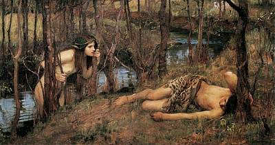 A Naiad Or Hylas With A Nymph Poster by John William Waterhouse