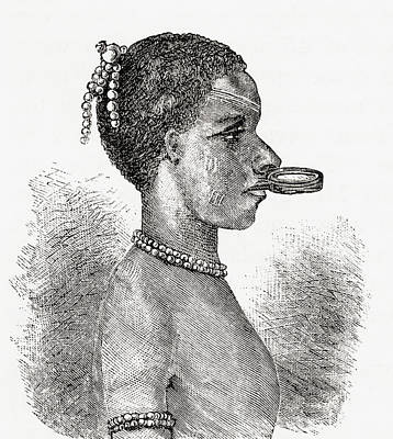 A Native African Woman Wearing A Lip Poster by Vintage Design Pics