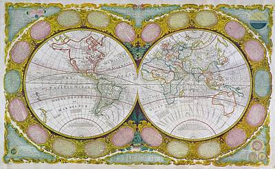 A New And Correct Map Of The World Poster by Robert Wilkinson