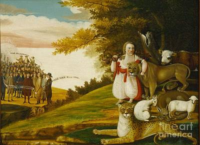 A Peaceable Kingdom With Quakers Bearing Banners Poster by Celestial Images