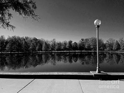 A Reflection Of Fall - Black And White Poster by Scott D Van Osdol