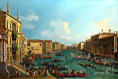 A Regatta On The Grand Canal By Canaletto Poster by Pg Reproductions