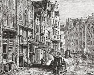 A Street In Old Amsterdam, The Poster by Vintage Design Pics