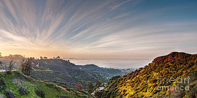 A Sunrise View Of The Griffith Observatory And Downtown Los Angeles From The Hollywood Hills - Cali Poster by Silvio Ligutti
