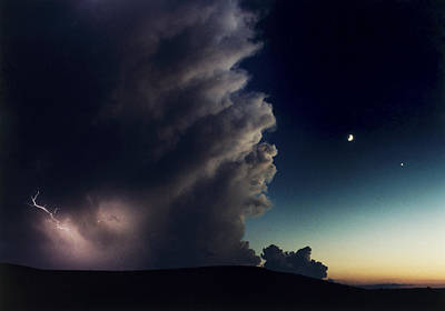A Thunderstorm, Evening Star Poster by Joel Sartore