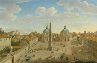 A View Of The Piazza Del Popolo Poster by MotionAge Designs