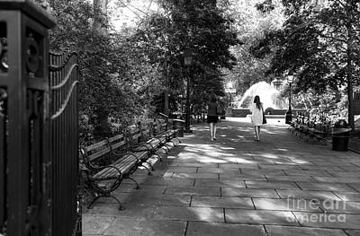 A Walk In City Hall Park Mono Poster by John Rizzuto