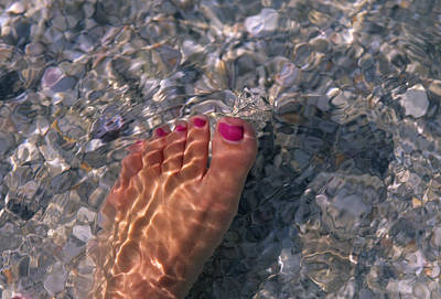 A Womans Foot In The Warm Water Poster by Stacy Gold