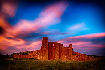 Abo Pueblo Mission Ruins Lit By Sunset Poster by Bartz Johnson