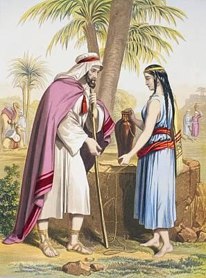 Abraham S Servant Eliezer And Rebekah Poster by Vintage Design Pics