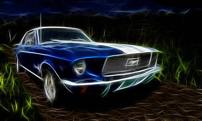 Abstract 1967 Ford Mustang Poster by Mountain Dreams