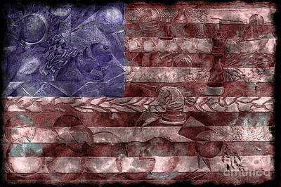 Abstract American Flag II Poster by J M Lister
