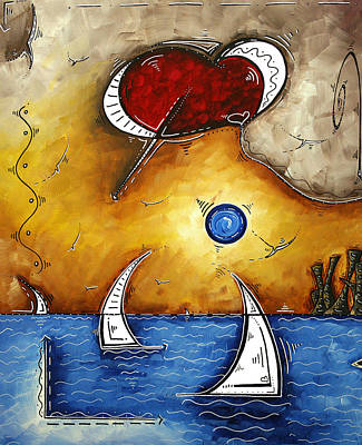 Abstract Art Contemporary Coastal Cityscape 3 Of 3 Capturing The Heart Of The City I By Madart Poster by Megan Duncanson