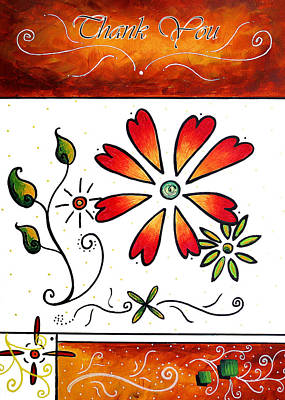 Abstract Decorative Greeting Card Art Thank You By Madart Poster by Megan Duncanson