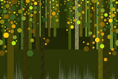 Abstract Dreamscape - Golden Greens Poster by Val Arie