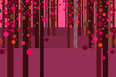 Abstract Dreamscape - Hot Pink Poster by Val Arie