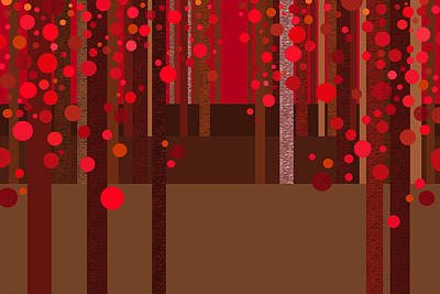 Abstract Dreamscape - Red Poster by Val Arie