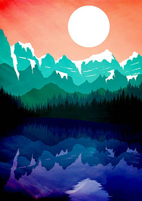 Abstract Landscape Lake Tahoe Poster by Diana Van