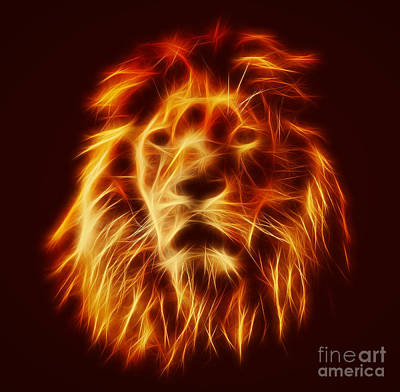 Abstract Lion Portrait Poster by Michal Bednarek