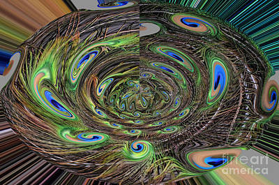 Abstract Of Peacock Feathers IIi Poster by Jim Fitzpatrick