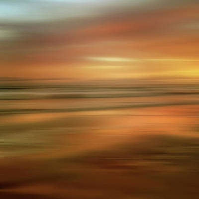 Abstract Sunset Illusions - Gold Poster by Joann Vitali