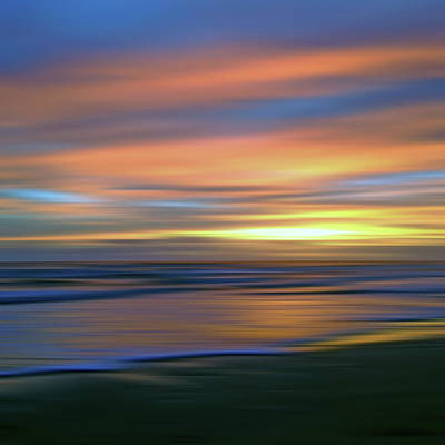 Abstract Sunset Illusions - Blue And Gold Poster by Joann Vitali