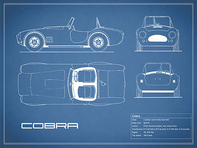 Ac Cobra Blueprint Poster by Mark Rogan