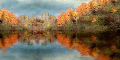 Accross The Lake In Autumn Poster by Tom Mc Nemar
