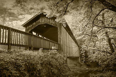 Ada Covered Bridge In Sepia Poster by Randall Nyhof