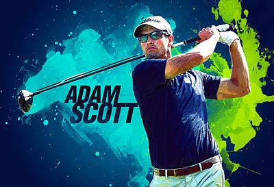 Adam Scott Poster by Semih Yurdabak