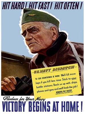 Admiral William Bull Halsey -- Ww2 Propaganda  Poster by War Is Hell Store