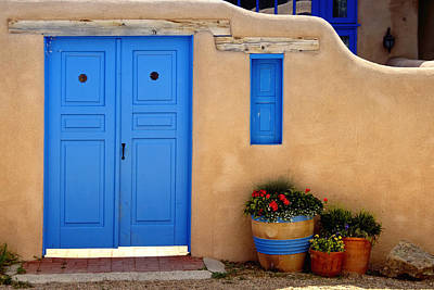 Adobe Walls With Blue Doors Ranchos De Taos New Mexico Poster by George Oze