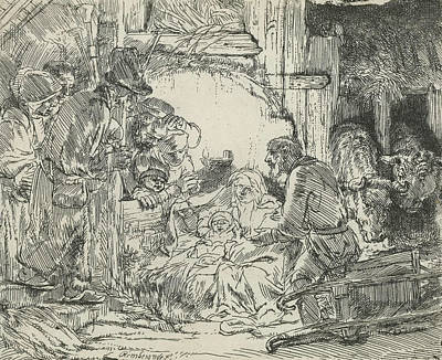 Adoration Of The Shepherds, With Lamp Poster by Rembrandt