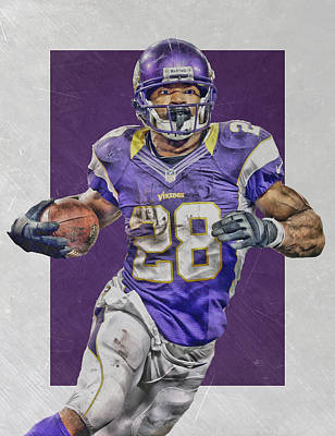 Adrian Peterson Minnesota Vikings Art 4 Poster by Joe Hamilton
