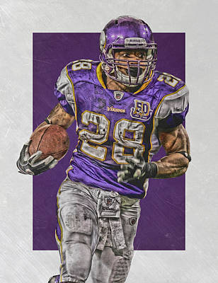 Adrian Peterson Minnesota Vikings Art 5 Poster by Joe Hamilton