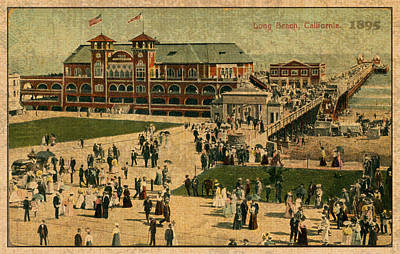 Aerial Birds Eye View Of Long Beach Pier And Beachfront California Circa 1895 Poster by Design Turnpike
