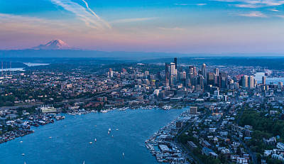 Aerial Lake Union, Rainier And Seattle Poster by Mike Reid